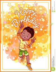 greeting card birthday with a happy african american boy stock