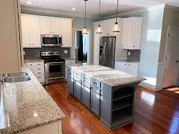 white kitchen cabinets grey island beautifully refinished cherry cabinets by grande finale
