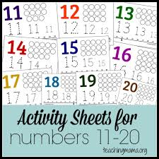 activities for numbers 11 20 learning activities free printable