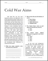 cold war aims reading with questions student handouts