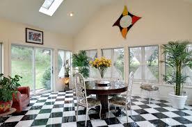 Checkerboard Area Rug Living Room Trendy Small Sunroom Interior With Laminate Black