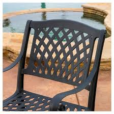 Patio Seating Furniture by Hallandale Set Of 2 Cast Aluminum Patio Chairs Black Sand