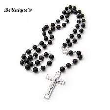 black rosary 42cm ham black prayer necklace s glass cross