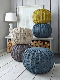 Knit Ottoman Pouf Furniture Colorful Knitted Pouf Ottoman For Country Living Room
