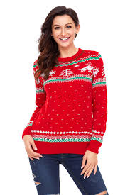 wholesale red christmas reindeer knit sweater winter jumper