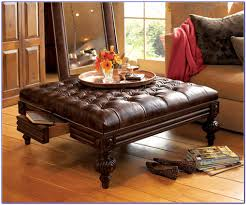 brown leather ottoman coffee table with storage coffee table