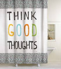 Shower Curtain Amazon Com Lisa Weedn Think Good Thoughts Fabric Shower Curtain