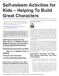 8 best images of self esteem activity for teens worksheets kids
