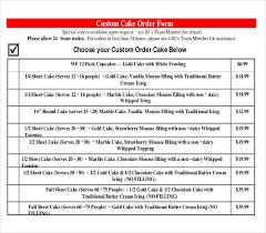 cake order 15 bakery order templates free sle exle format