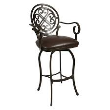 Metal Bar Chairs Metal Bar Stool With Unique Back And Arms Plus Leather Seat