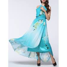 Light Blue Chiffon Dress Boho Floral Maxi Chiffon Flowy Beach Dress In Light Blue 2xl