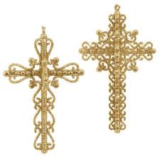 6 5 gold cross ornament set of 2