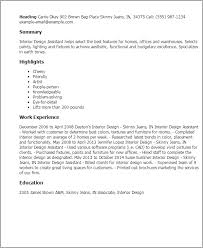 Entry Level Interior Design Resume Professional Interior Design Assistant Templates To Showcase Your