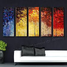 5 Piece Canvas Wall Art Hand Painted Palette Knife Oil | 5 piece canvas wall art hand painted palette knife oil painting