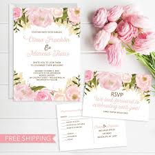 Invitation Card With Rsvp Pink Floral Wedding Invitation Set Wedding Invite Rsvp Card