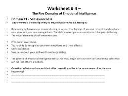 worksheet 4 u2013the five domains of emotional intelligence u2022 domain