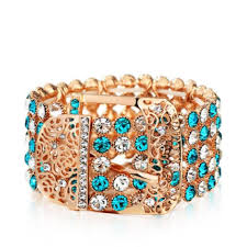 crystal buckle bracelet images Crystal blue green swarovski wide buckle bracelet tradesy jpg