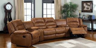 Home Theater Sectional Sofas Home Theater 4 Leather Power Recliner Sectional Sofa