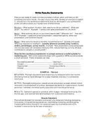 Situation Action Result Resume Examples by Drafting A Results Resume Guide