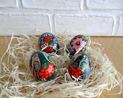 Russian Easter Egg Decorations by Wood Eggs Etsy