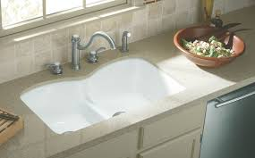 best kitchen detail of a large white cermaic kitchen sink with a
