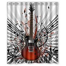 Curtains Music Amazon Com Fashionable Guitar Music Notes Waterproof Bathroom
