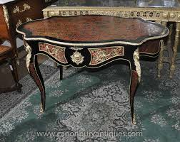 bureau boulle shaped boulle desk bureau plat inlay writing centre table