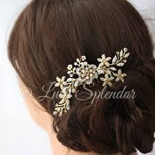 gold hair accessories gold bridal hair comb flower comb vintage leaves wedding hair