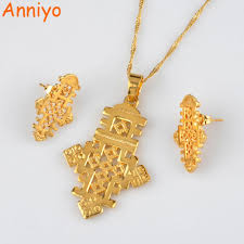 lady gold necklace images Anniyo ethiopian cross jewelry sets necklace and earrings for jpg