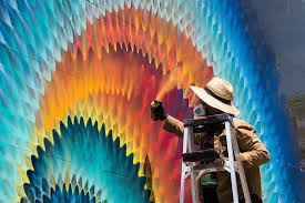 rippled portals of color created with spray paint by hoxxoh colossal