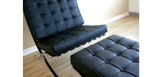 Armchair Ottoman Set Barcelona Style Chair And Ottoman In Black Leather