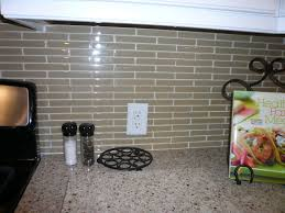 Glass Kitchen Backsplash Tiles Glass Tile Backsplash In A Brick Pattern Paramount Stone