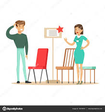 store seller showing chair assortment to man smiling shopper in