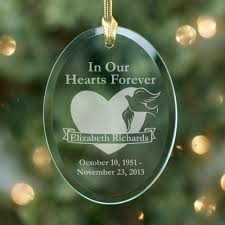 personalized glass memorial ornament says