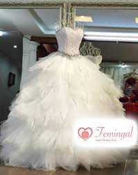wedding dresses fluffy 2016 high end feather with slim waist touch floor
