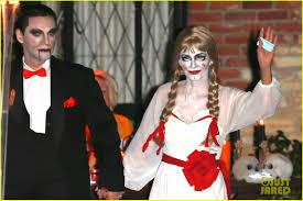 kim davis halloween mask courteney cox dolls up as u0027annabelle u0027 for halloween with fiance