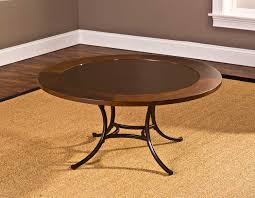 hillsdale montclair round coffee table wood border with mirrored