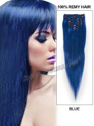 blue hair extensions inch blue clip in remy human hair extensions 7pcs
