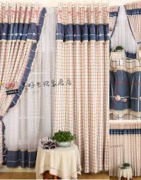 Rustic Country Curtains Plaid Pattern Navy And Red Country Curtains