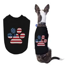 Cute American Flag Shirts Red White Blue Paw Cute Independence Day Shirts For Small Dog