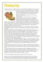 thanksgiving reading comprehension part 1 of 3 text