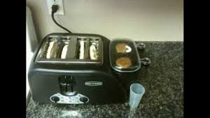 Toaster With Egg Maker Back To Basics Tem4500 4 Slot Egg And Muffin Toaster Youtube