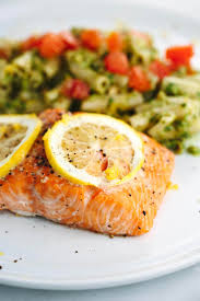 roasted lemon salmon fillets with pesto pasta recipe jessica gavin