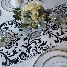 black and white table runners cheap traditions white and black damask table runner wedding table runner