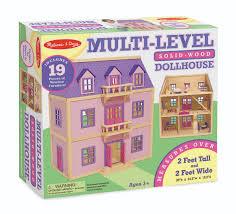 melissa u0026 doug multi level wooden dollhouse with 19 pcs furniture