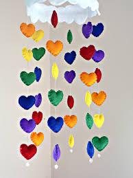rainbow hearts cloud mobile felt rainbow heart mobile with