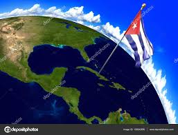 Cuba On A World Map Cuba National Flag Marking The Country Location On World Map 3d
