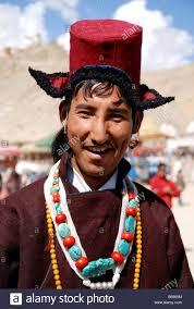 ladakh clothing a ladakhi wearing traditional ladakhi dress in ladakh stock