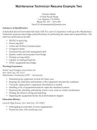 maintenance technician resume maintenance technician resume sle resumedoc
