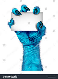 blue monster hand zombie holding blank stock illustration